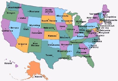 Zip Code abbreviations used in the U.S