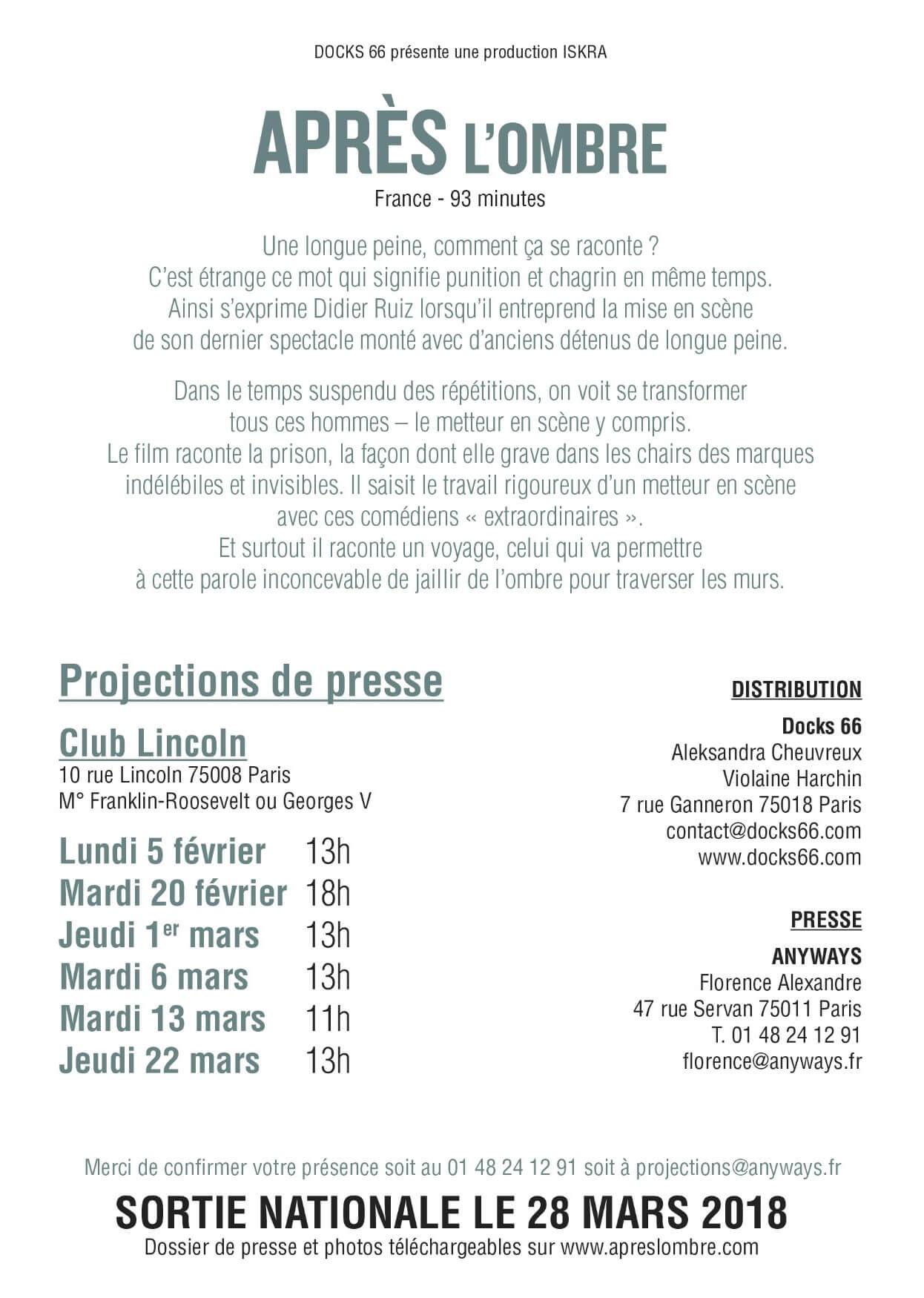 Sortie nationale le 28 mars 2018 du Film : APRÈS L'OMBRE de Stéphane MERCURIO