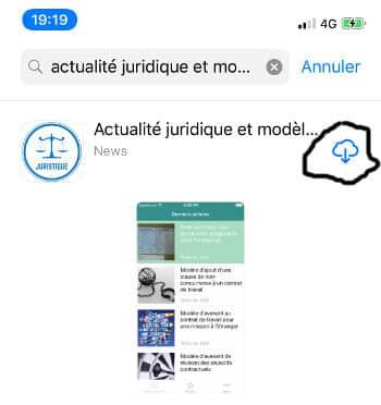 Téléchargement application juridique sur Iphone