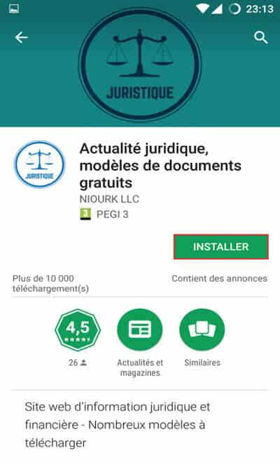 Installation application juridique sur Android