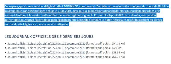 Redirection de Légifrance vers les 4 derniers journaux officiels